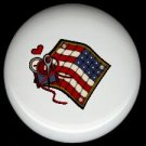 Sewing Quilting AMERICAN FLAG with Needle & Thread ~ Ceramic Drawer Knobs Pulls FREE S/H