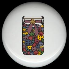 Sewing Quilting JAR of BUTTONS ~ Ceramic Drawer Knobs Pulls FREE S/H