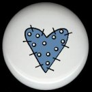 BLUE Polka DoT STITCHED Prim HEART ~ Ceramic Drawer Knobs Pulls FREE S/H