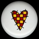 YELLOW and RED CHECKED Prim HEART ~ Ceramic Drawer Knobs Pulls FREE S/H