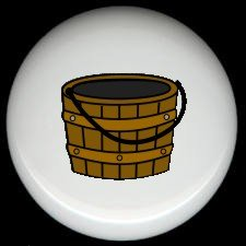 Laundry Room WOOD SCRUB BUCKET Ceramic Knobs