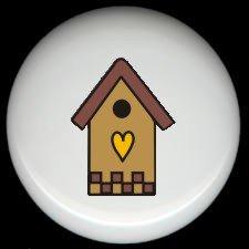 Tan BIRDHOUSE with HEART Ceramic Knobs Pulls