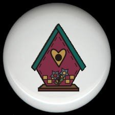 Burgundy BIRDHOUSE with HEART Ceramic Knobs Pulls