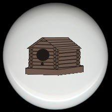 LOG CABIN BIRDHOUSE Rustic Ceramic Knobs Pulls
