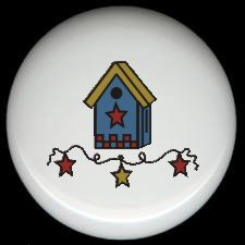 Country BLUE BIRDHOUSE with HEART GARLAND Ceramic Knobs Pulls
