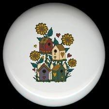BIRDHOUSES Nestled Among FLOWERS Ceramic Knobs Pulls