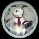 WHITE RABBIT with Red Tie MAGICIAN Gothic Ceramic Drawer Knobs