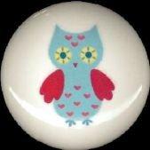 Adorable WHIMSICAL OWL #2 Ceramic Drawer Knobs Handle Pulls