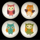 SET of 4 Adorable WHIMSICAL OWLS Ceramic Drawer Knobs Handle Pulls