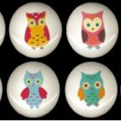 SET of 8 Adorable WHIMSICAL OWLS Ceramic Drawer Knobs Handle Pulls