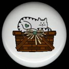 GRAY CAT on a BASKET Ceramic Drawer Knobs