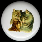 Victorian Design MAMA CAT & KITTENS Ceramic Knobs