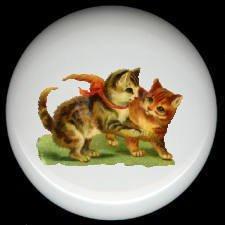 Victorian KITTENS CAT at PLAY Design 2 Ceramic Knobs Pulls
