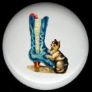 Blue Satin VICTORIAN BOOT Shoe & Kitten CAT Ceramic Knobs Pulls