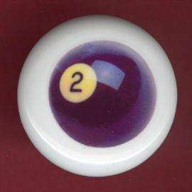 POOL BALL #2 Billiards Ceramic Drawer Knob Pulls
