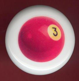 POOL BALL #3 Billiards Ceramic Drawer Knob Pulls