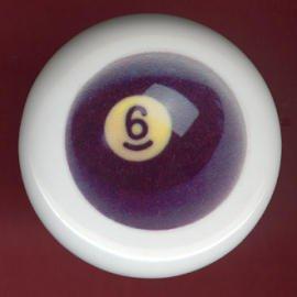 POOL BALL #6 Billiards Ceramic Drawer Knob Pulls