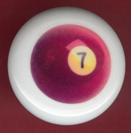 POOL BALL #7 Billiards Ceramic Drawer Knob Pulls