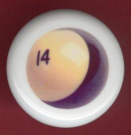 POOL BALL #14 Billiards Ceramic Drawer Knob Pulls