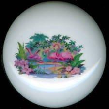 Vintage Design FLOCK of FLAMINGOS Ceramic KNOBS Pulls