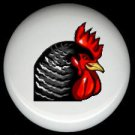 Striking BLACK and RED ROOSTER HEAD ~ Ceramic Knobs Pulls