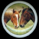 Pair of BROWN HORSES Nose to Nose Equine Horse Ceramic Knobs Pulls - Free Shipping