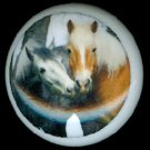 Pair of SWEET HORSES CUDDLING Ceramic Knobs Handles Pulls - Free Shipping