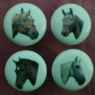 SET of 4 HORSE Horses Ceramic Drawer Cabinet Knobs Pulls