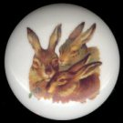 VICTORIAN RABBIT TRIO Ceramic Drawer Knobs