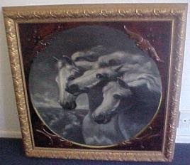 Antique horse original oil on canvas painting  � pharoahs chariot horses �