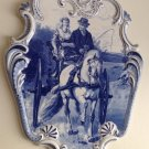 ANTIQUE de SPHINX MAASTRICHT HOLLAND DELFT BLUE HORSE MARRIAGE CART CARRIAGE WALL PLAQUE PLATE