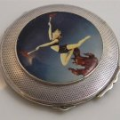 1920 HALLMARKED STERLING SILVER ENAMEL DECO FIRE DANCE DANCING DANCER POWDER COMPACT BOX