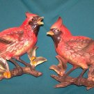 VINTAGE ♫♫  LEFTON ♫ ♫ RED BIRD N BERRIES WALL POCKET WALLPOCKET VASE SET
