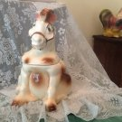 RARE VINTAGE  ✿ AMERICAN BISQUE ✿ SITTING HORSE COOKIE JAR 1950's USA WESTERN AMERICANA
