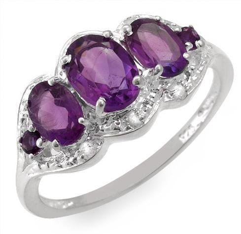 Genuine Amethyst and Topaz Ring Sz 7