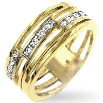 14kt GP Journey Links Pave CZ Ring Sz 9