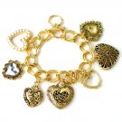 FASHION DOUBLE LINK HEART CHARM BRACELET