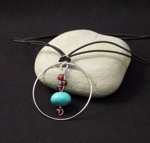 Sterling Silver Pendant with Turquoise and Garnet Dangle