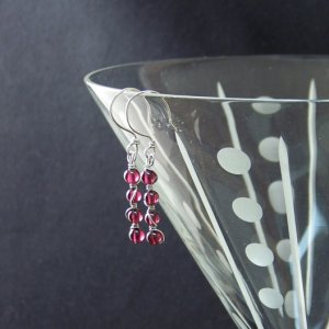 Silver Spiral Garnet Earrings