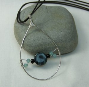 Silver Tear Drop Pendant with Black and Blue Bead