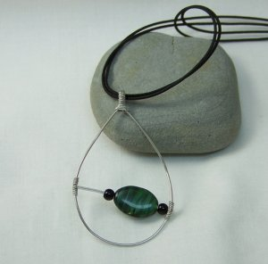 Silver Tear Drop Pendant with Green and Black Glass Bead