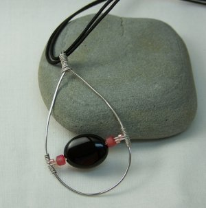 Silver Tear Drop Pendant with Black and Pink Beads