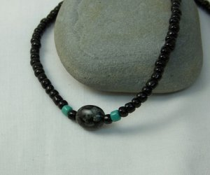 Black and Green Swirl Necklace