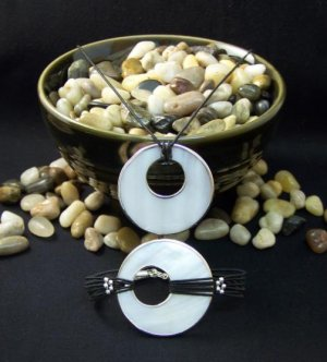 Silver Lined Mother of Pearl Necklace and Bracelet Set