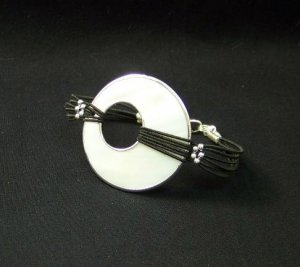 Silver Lined Mother of Pearl Bracelet