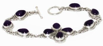 Amethyst & Fine .925 Sterling Silver Bracelet FREE SHIPPING