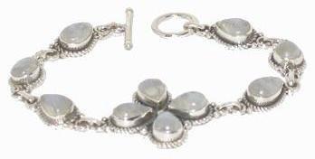 Moonstone & Fine .925 Sterling Silver Bracelet FREE SHIPPING