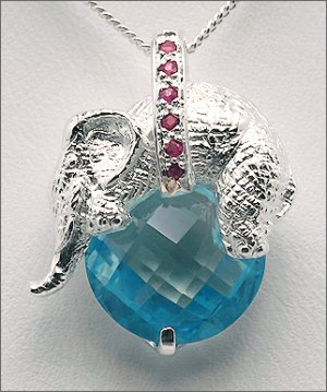 Topaz Ruby Elephant Necklace Free Shipping