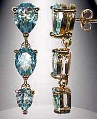 Blue Topaz Dangle Earrings FREE SHIPPING