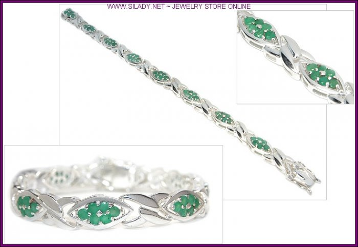 Emerald Eye Fine Sterling Silver Bracelet FREE SHIPPING